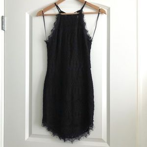 Black High Neck Lace Mini Dress